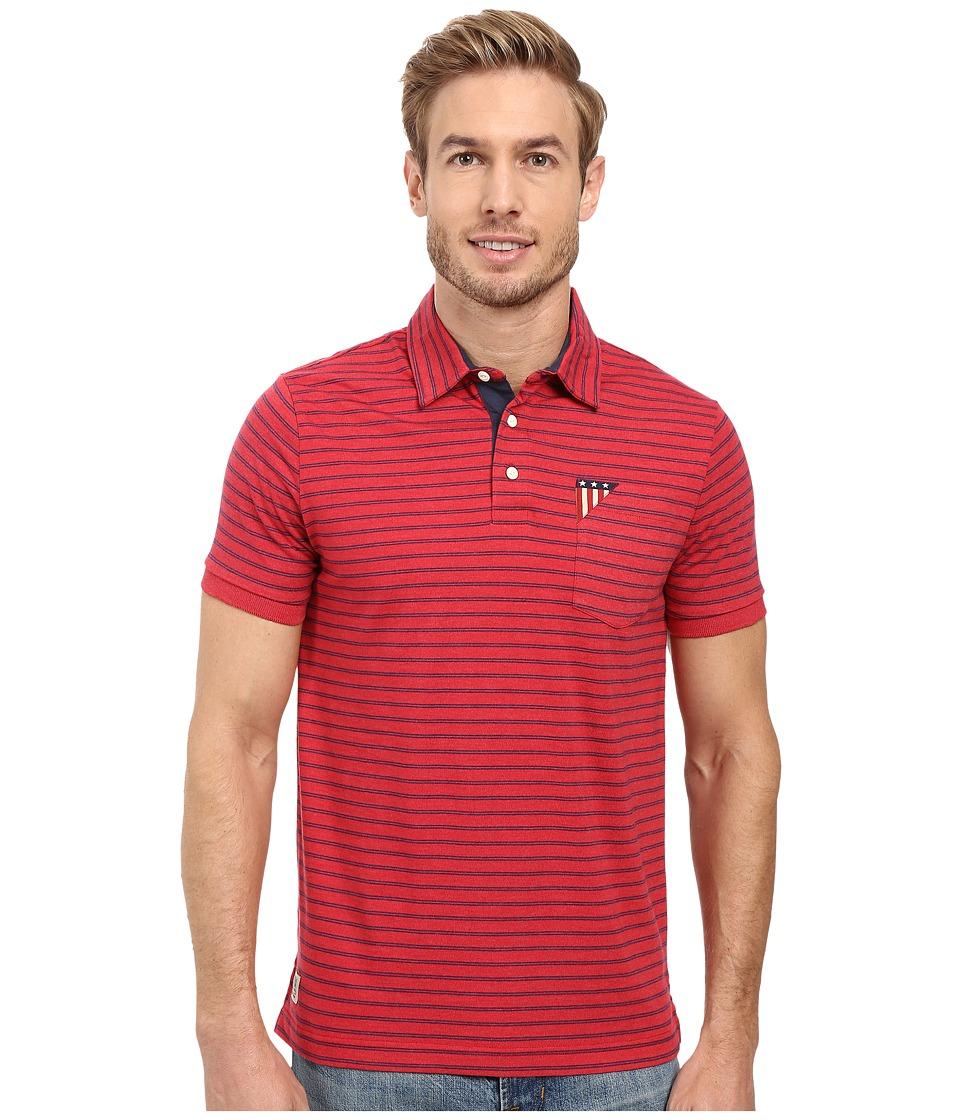 U.S. POLO ASSN. - Short Sleeve Slim Fit Balanced Stripe Pocket Polo Shirt (Red Heather) Men's Short Sleeve Pullover