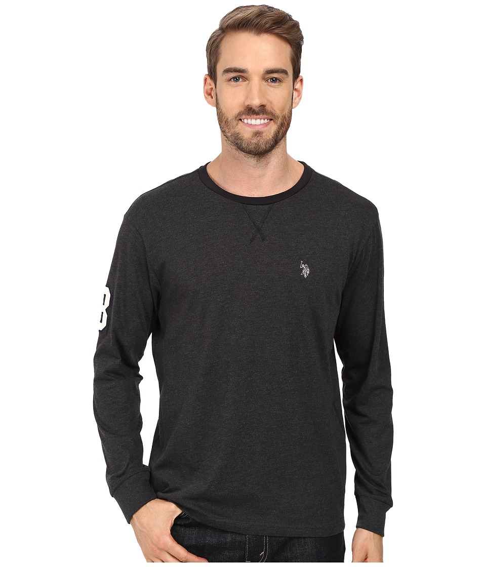 U.S. POLO ASSN. - Long Sleeve V-Inset Crew Neck Knit Shirt (Black Heather) Men's Clothing