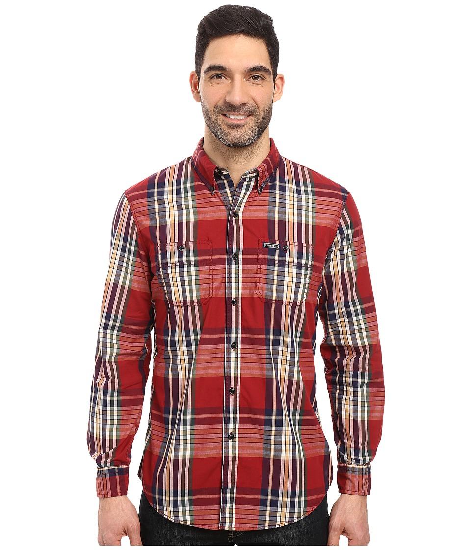 U.S. POLO ASSN. Long Sleeve Classic Fit Button Down Plaid Sport Shirt (University Red) Men