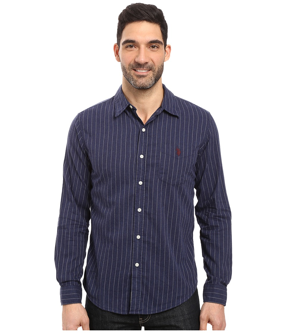 U.S. POLO ASSN. - Long Sleeve Slim Fit Brushed Heather Stripe Twill Straight Point Collar Sport Shirt (Midnight Heather) Men's Clothing