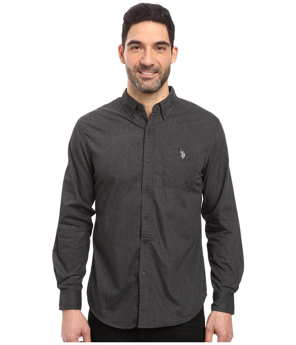U.S. POLO ASSN. - Long Sleeve Solid Cotton Poplin Heathered Sport Shirt (Black Heather) Men's Clothing