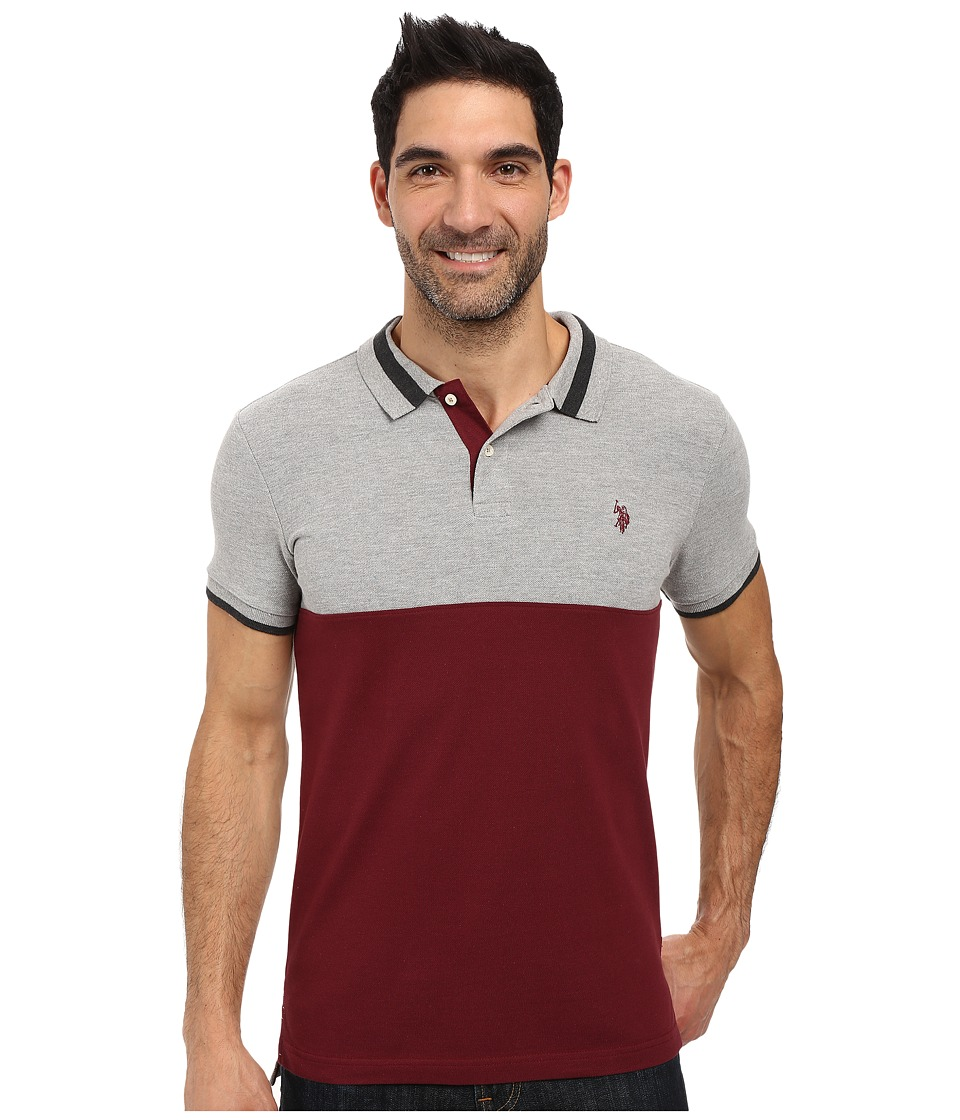 U.S. POLO ASSN. - Short Sleeve Slim Fit Color Blocked Pique Polo Shirt (Seagrams Burgundy) Men's Short Sleeve Pullover