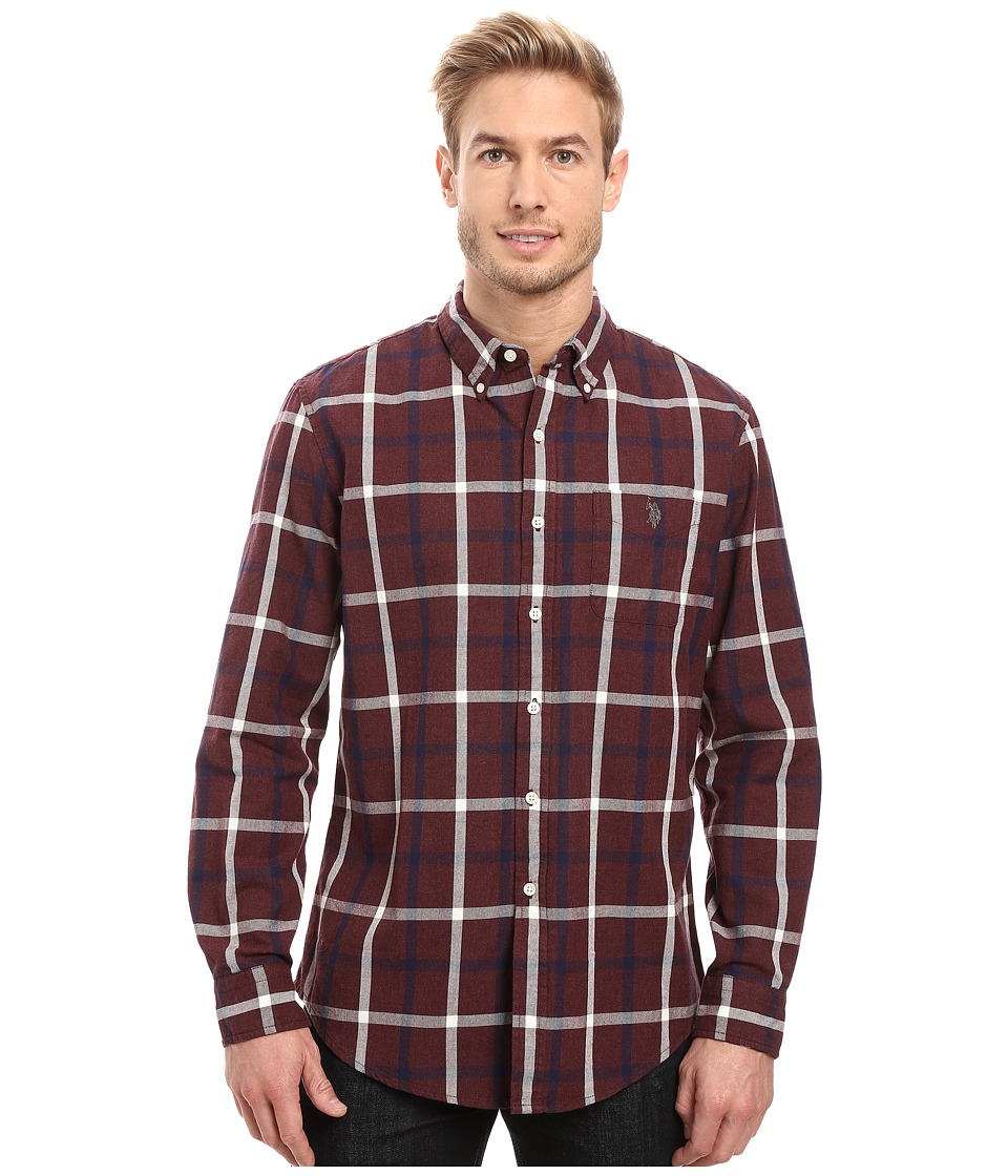 U.S. POLO ASSN. - Long Sleeve Oxford Cloth Plaid Button Down Sport Shirt (Burgundy Heather) Men's Clothing