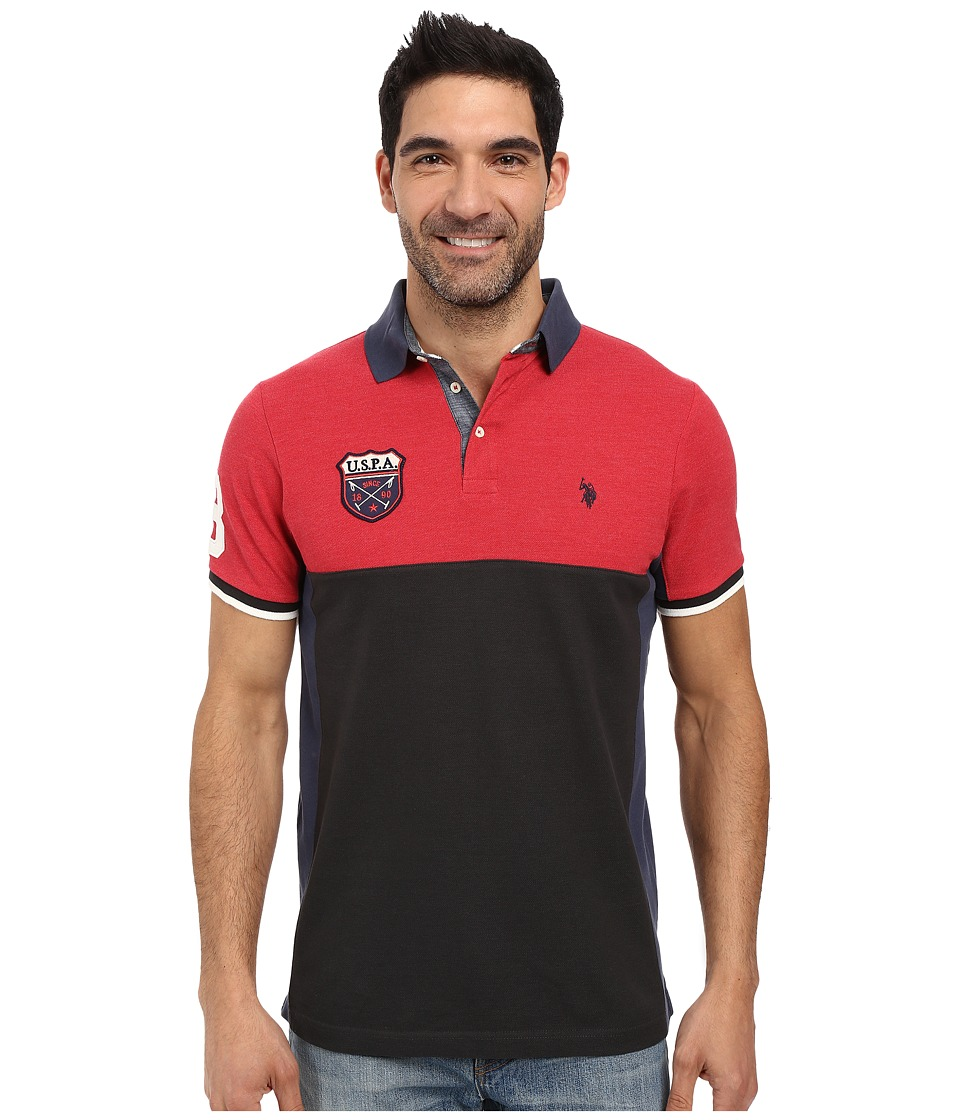 U.S. POLO ASSN. - Sporty Short Sleeve Color Blocked Polo Shirt (Campfire Coal) Men's Short Sleeve Pullover