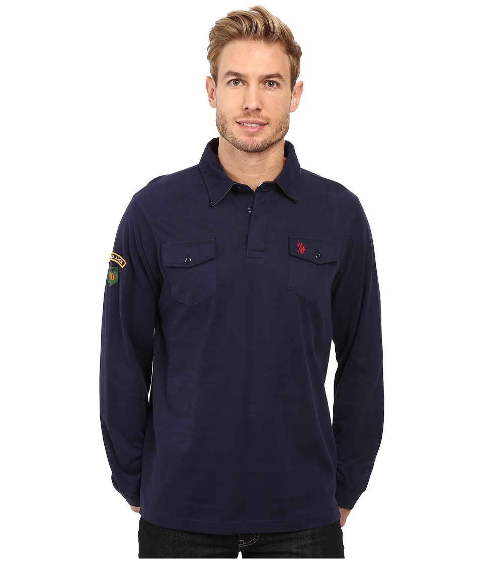 U.S. POLO ASSN. - Long Sleeve Heavy Sueded Jersey Enzyme Garment Washed Polo Shirt (Classic Navy) Men's Clothing
