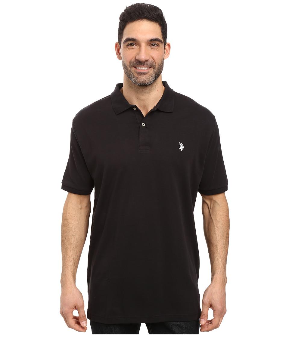 U.S. POLO ASSN. Solid Interlock Polo Black Mens Short Sleeve Knit
