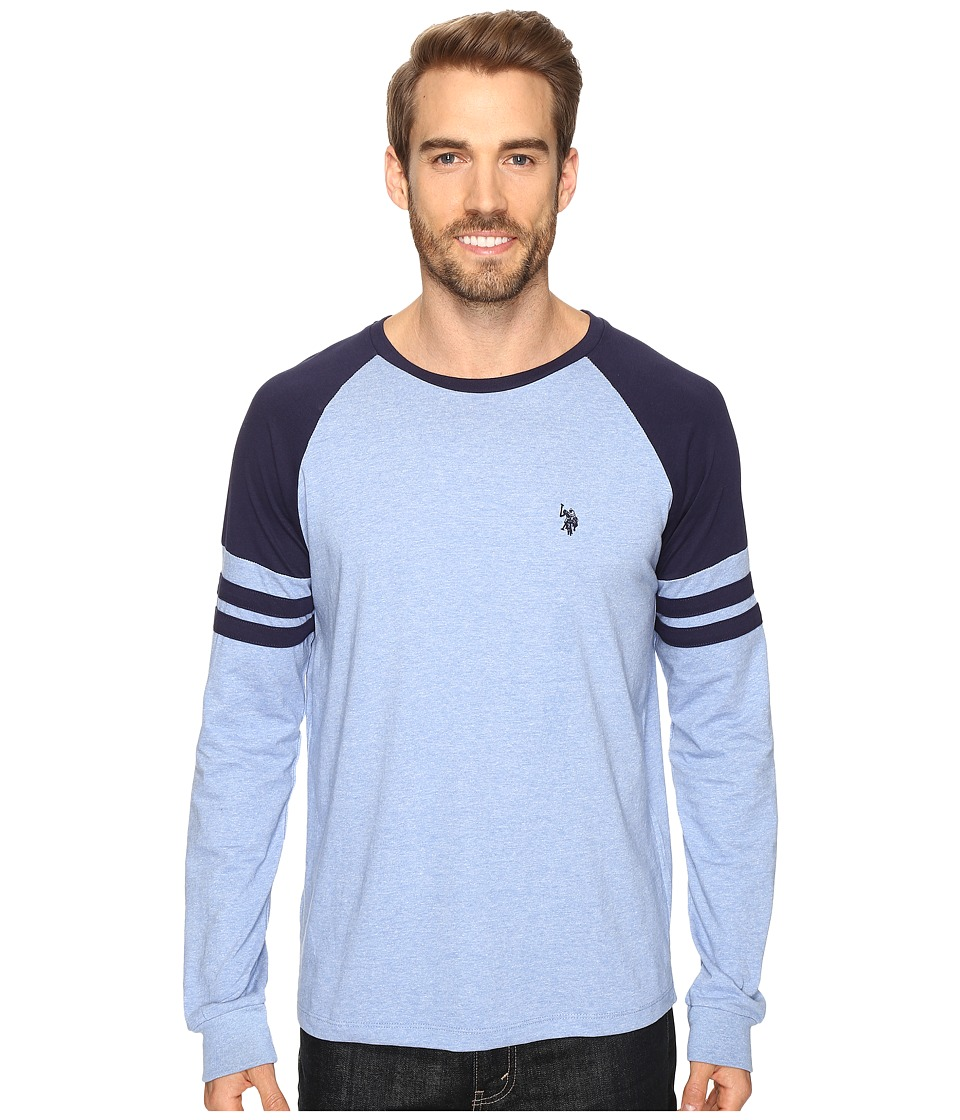U.S. POLO ASSN. - Long Raglan Sleeve Color Block Knit Shirt (Vista Blue Heather) Men's Clothing