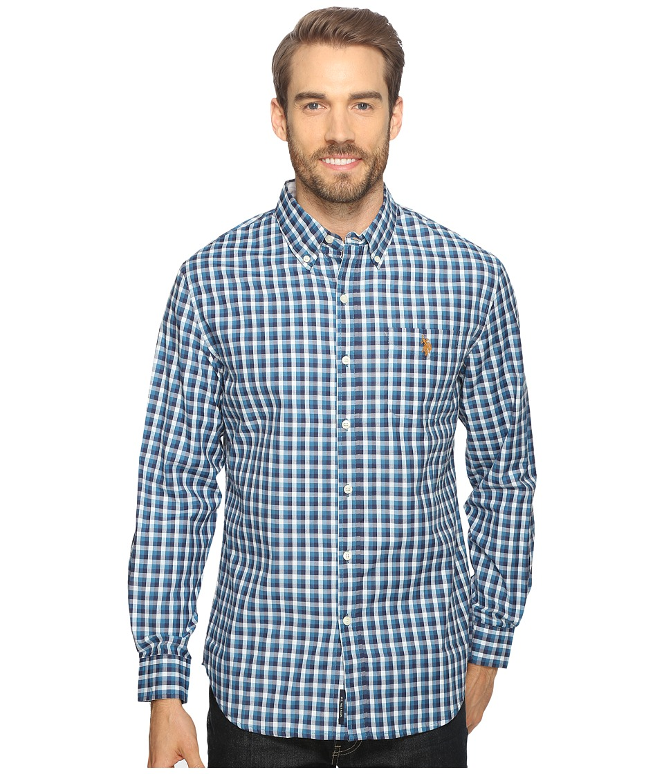 U.S. POLO ASSN. - Long Sleeve Poplin Small Check Sport Shirt (Delancey Blue) Men's Clothing