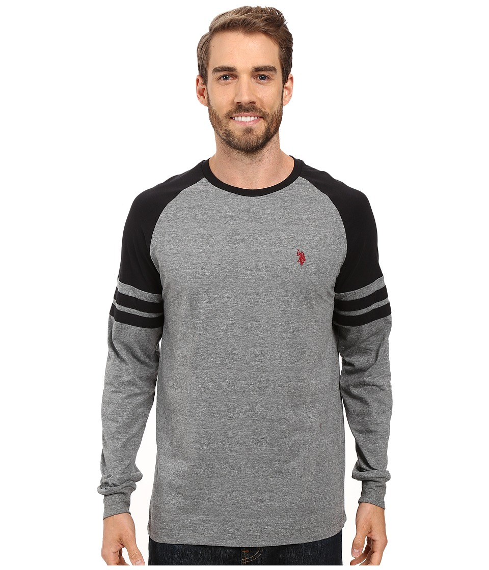 U.S. POLO ASSN. - Long Raglan Sleeve Color Block Knit Shirt (Campus Heather Grey) Men's Clothing