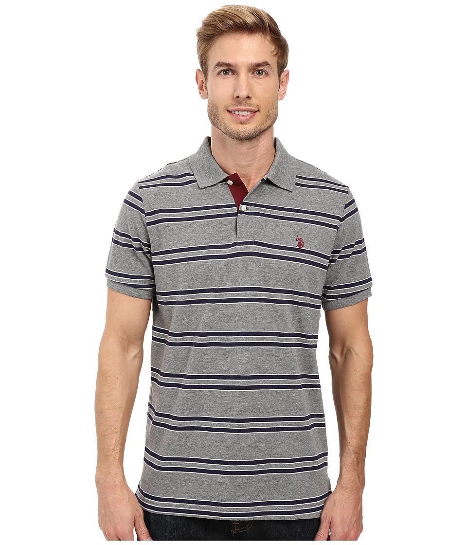 U.S. POLO ASSN. - Short Sleeve Balanced Stripe Pique Polo Shirt (Campus Heather Grey) Men's Short Sleeve Pullover