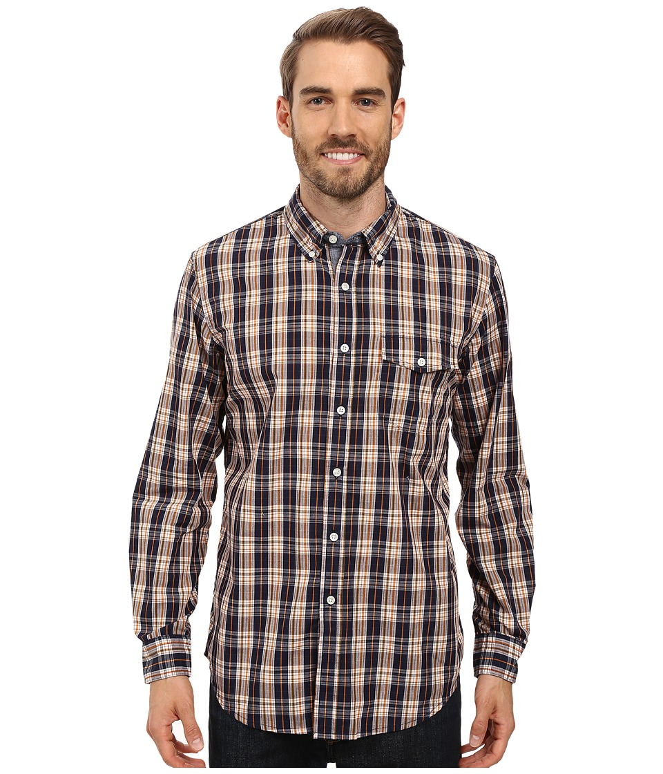U.S. POLO ASSN. - Long Sleeve Classic Fit Plaid Poplin Sport Shirt (Classic Navy) Men's Clothing