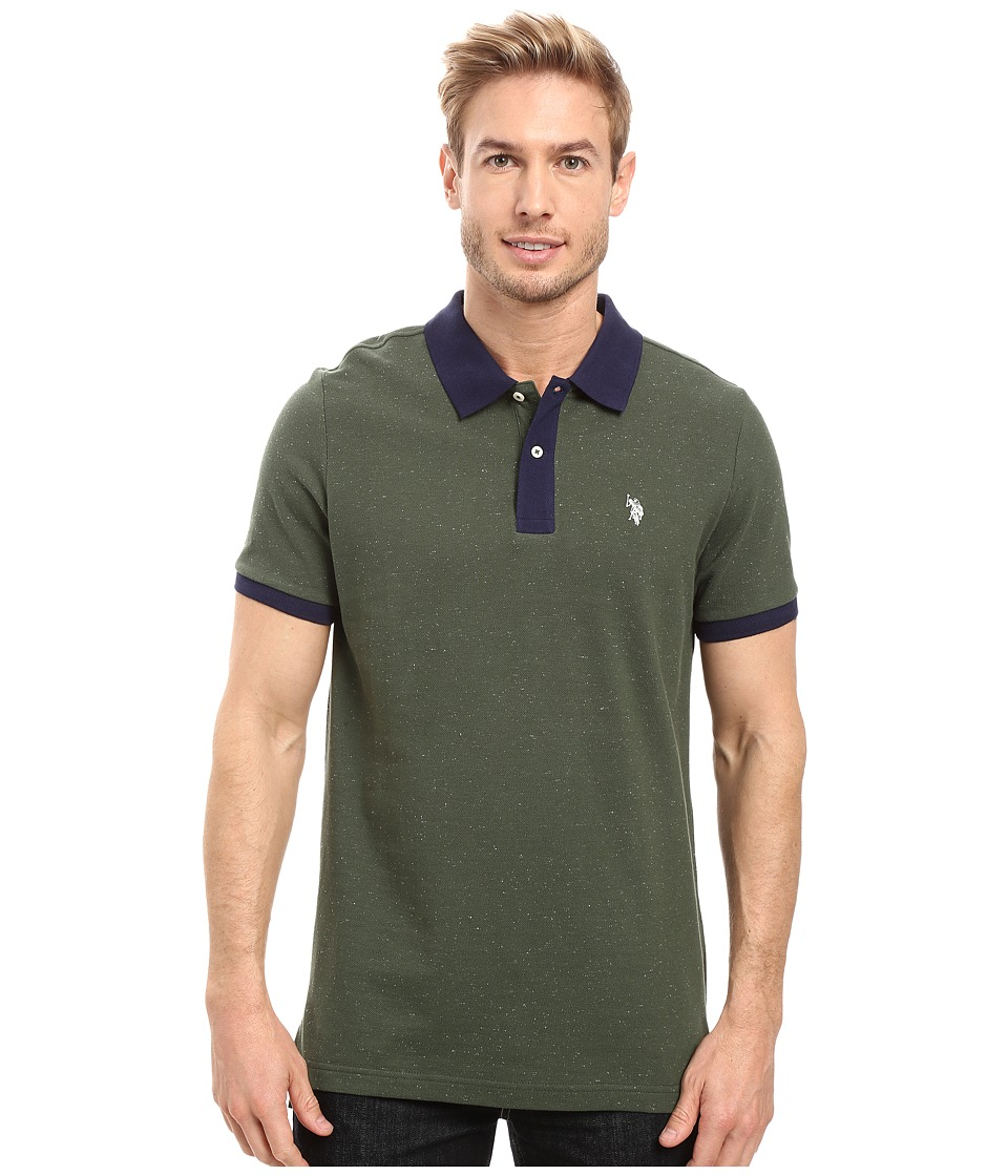U.S. POLO ASSN. - Short Sleeve Fleck Pique Polo Shirt (Sycamore Green) Men's Short Sleeve Pullover