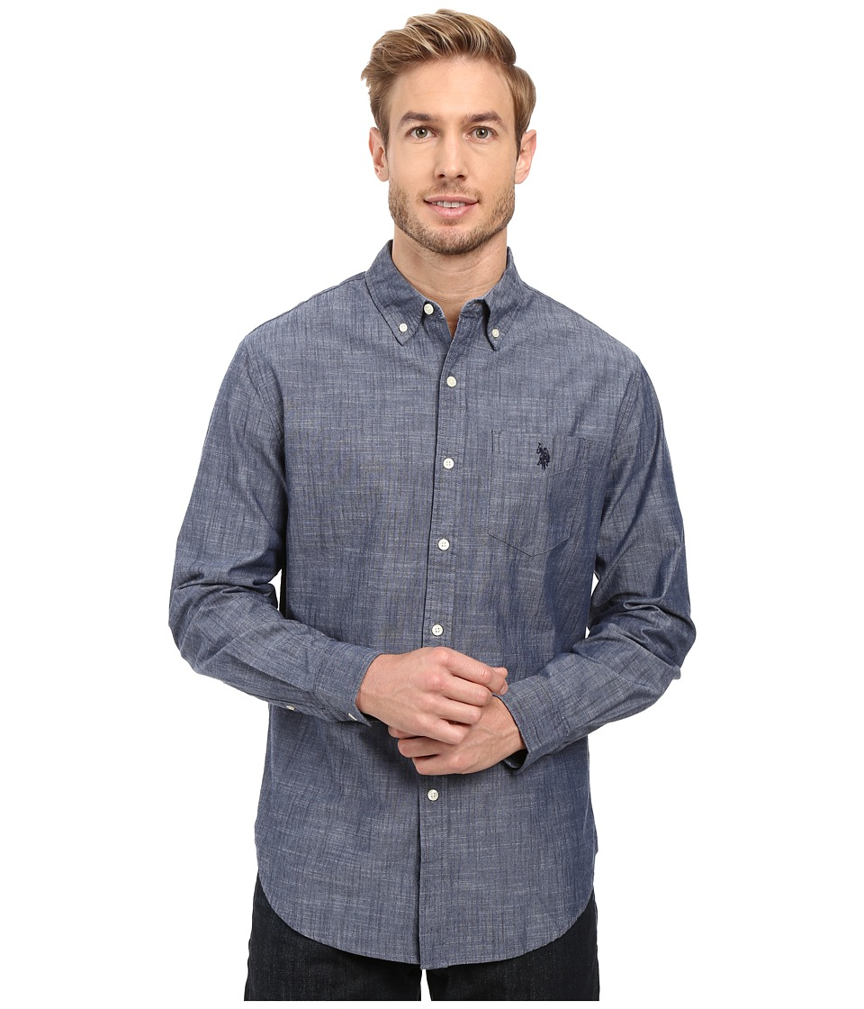 U.S. POLO ASSN. - Long Sleeve Cotton Canvas Slub Sport Shirt (Infinity Blue) Men's Clothing