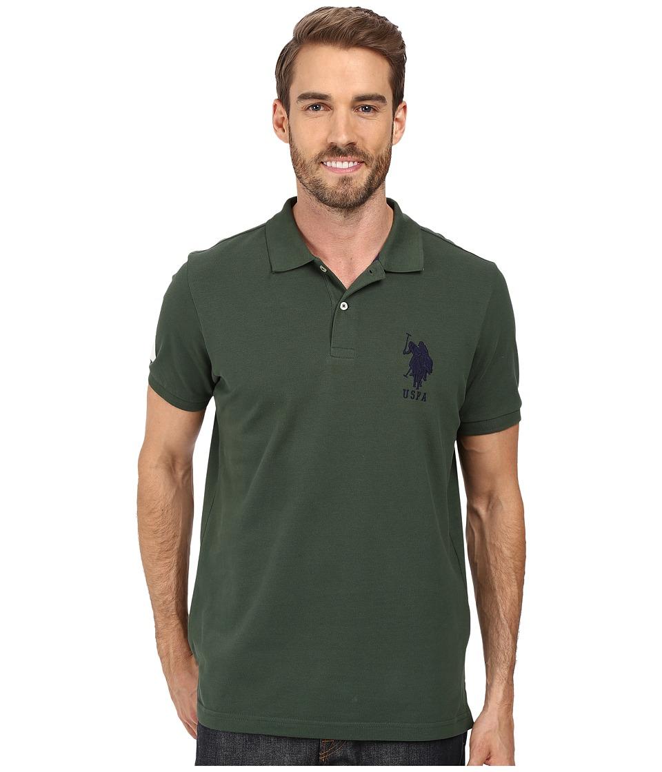 U.S. POLO ASSN. Solid Pique Polo Sycamore Green Mens Short Sleeve Pullover