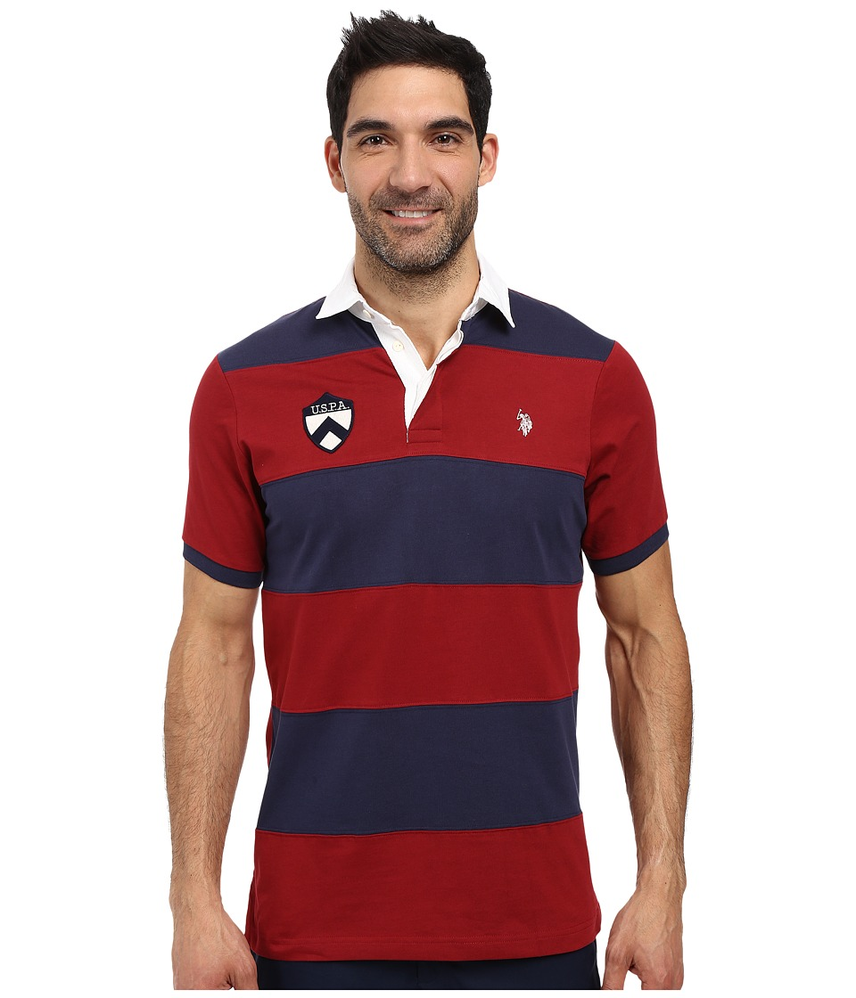 U.S. POLO ASSN. - Short Sleeve Rugby Stripe Polo Shirt (University Red) Men's Short Sleeve Pullover