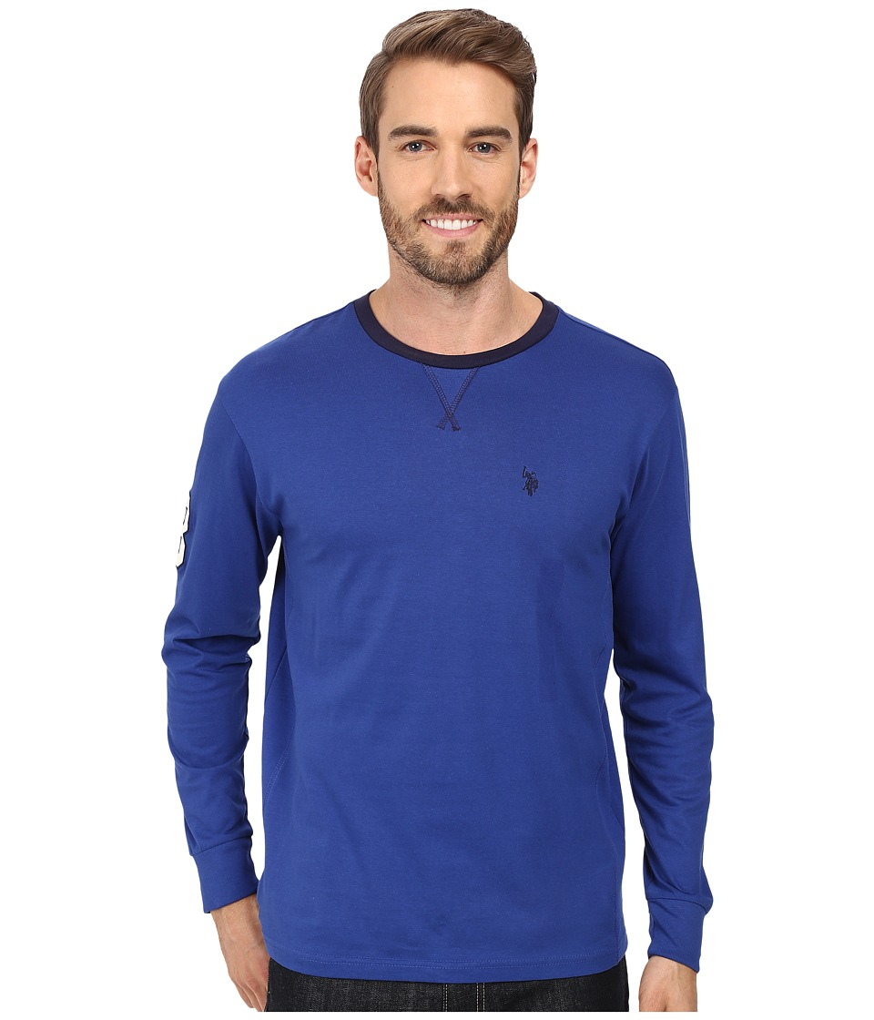 U.S. POLO ASSN. - Long Sleeve V-Inset Crew Neck Knit Shirt (Barcelona Blue) Men's Clothing