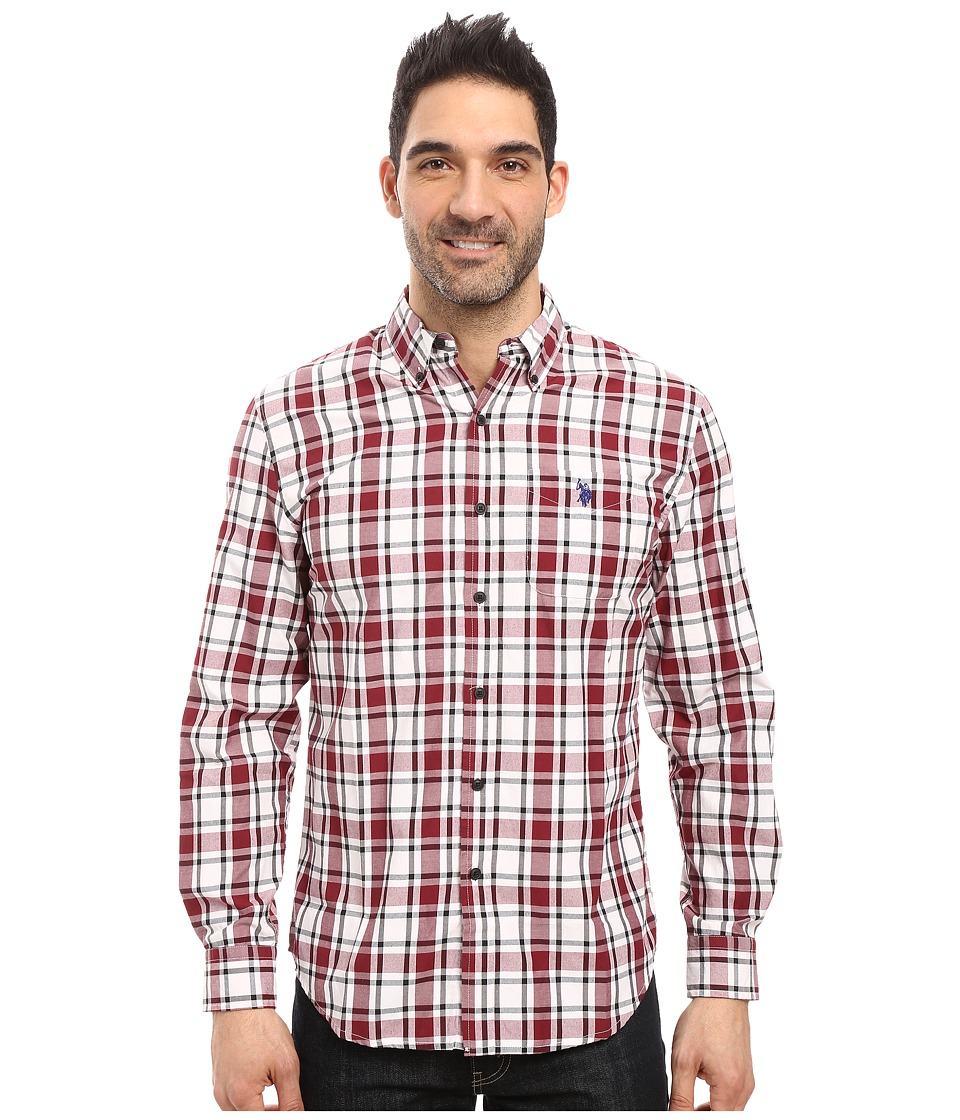 U.S. POLO ASSN. - Long Sleeve Medium Box Plaid Sport Shirt (Seagrams Burgundy) Men's Clothing