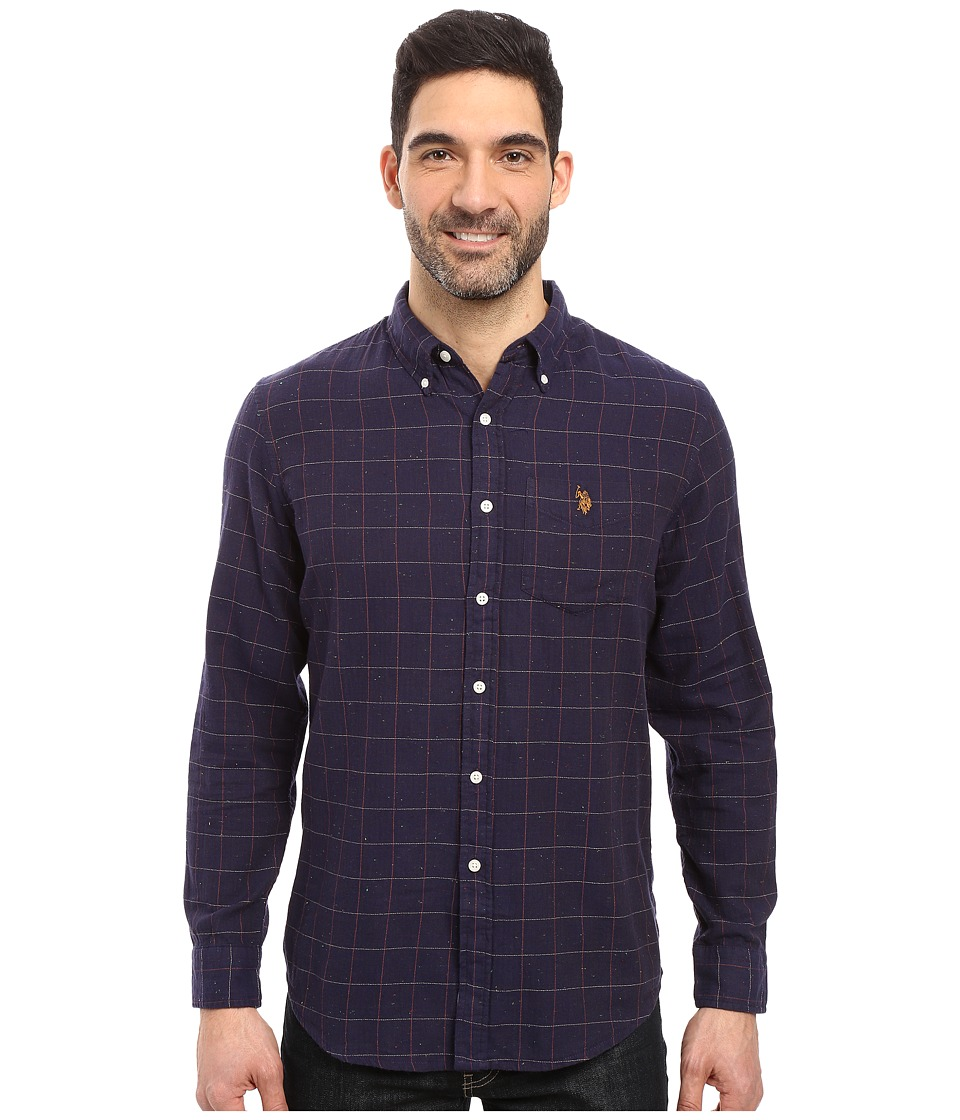 U.S. POLO ASSN. - Long Sleeve Classic Fit Button Down Herringbone Neps Check Sport Shirt (Classic Navy) Men's Clothing