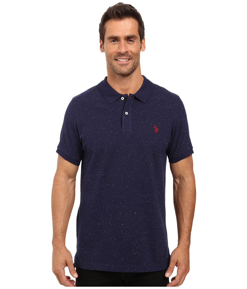 U.S. POLO ASSN. - Short Sleeve Fleck Pique Polo Shirt (Classic Navy) Men