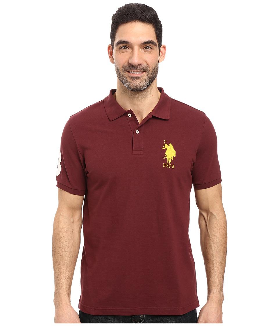 U.S. POLO ASSN. - Solid Pique Polo (East Burgundy) Men's Short Sleeve Pullover
