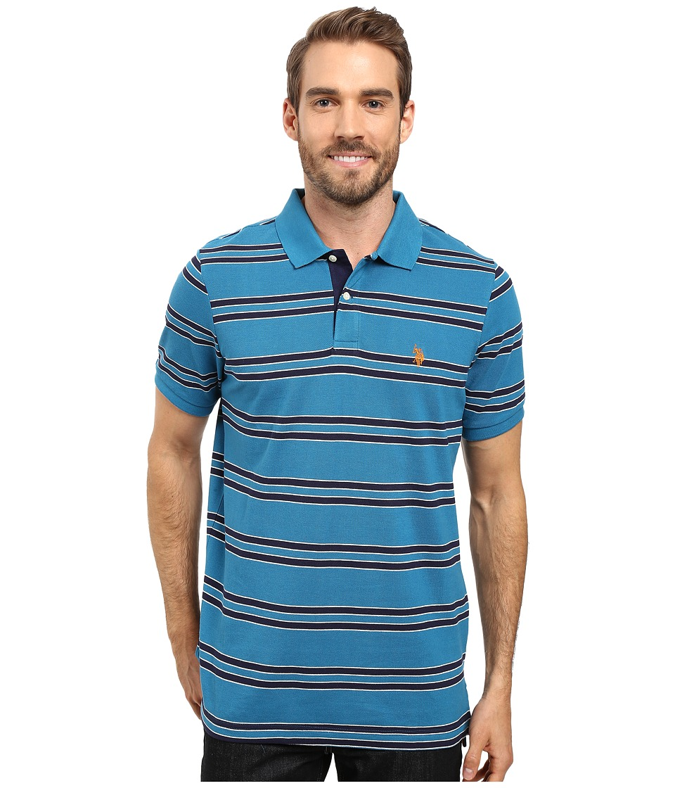 U.S. POLO ASSN. - Short Sleeve Balanced Stripe Pique Polo Shirt (Delancey Blue) Men's Short Sleeve Pullover