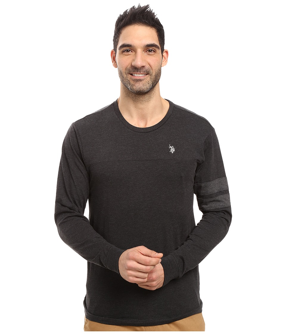 U.S. POLO ASSN. - Long Sleeve Crew Neck Knit Shirt (Black Heather) Men's Clothing