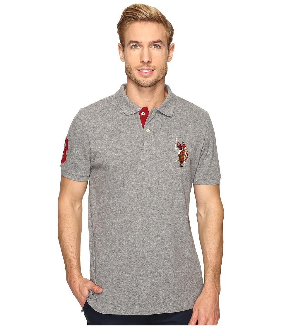 U.S. POLO ASSN. - Multicolor Double Rider Logo Solid Pique Polo (Campus Heather Grey) Men's Clothing