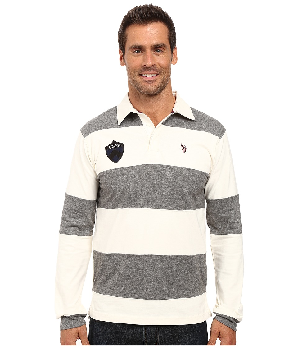 U.S. POLO ASSN. Heavy Weight Jersey Classic Rugby Polo Shirt (Campus Heather Grey) Men