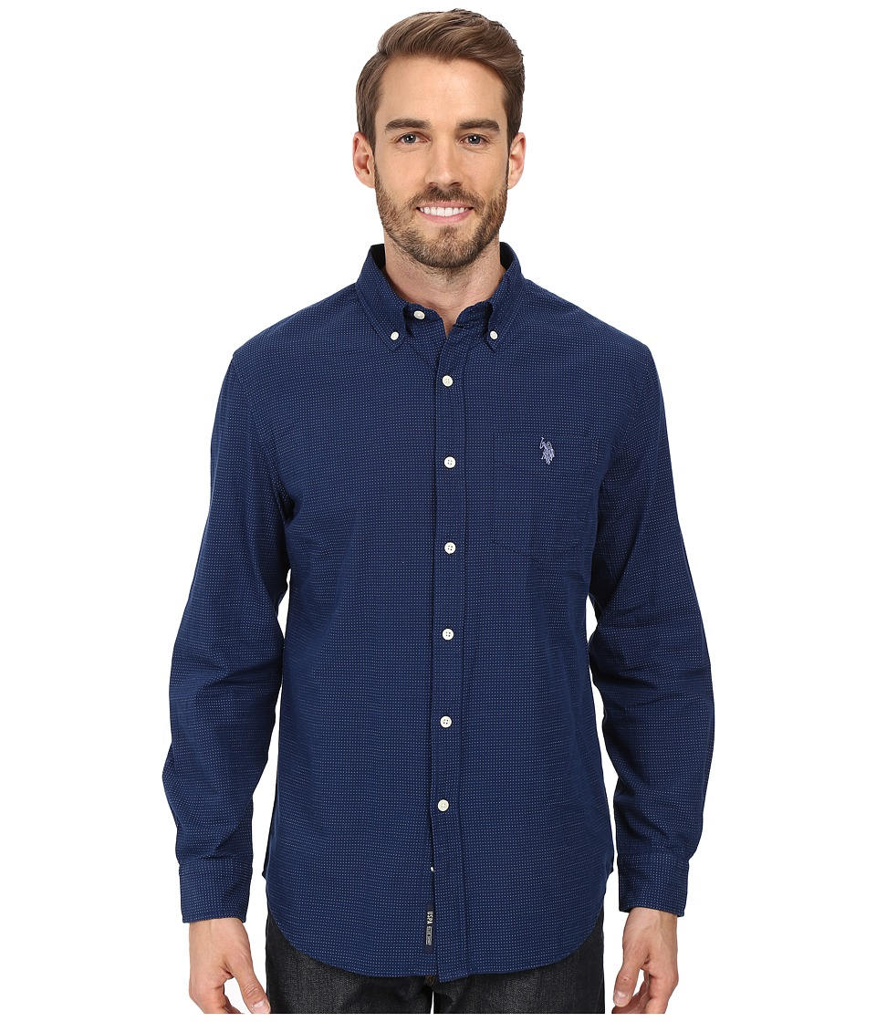 U.S. POLO ASSN. - Long Sleeve Cotton Dobby Stitch Sport Shirt (Classic Navy) Men's Clothing