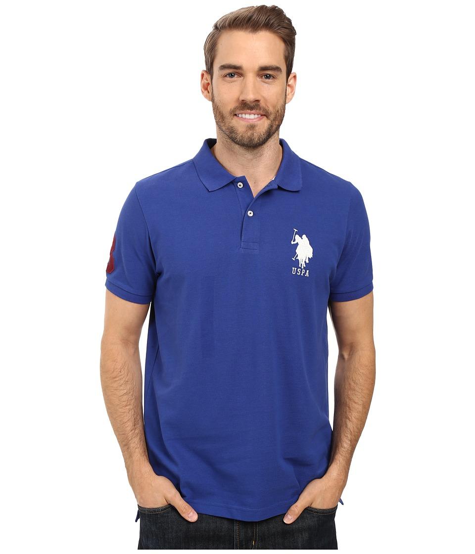U.S. POLO ASSN. - Solid Pique Polo (Barcelona Blue) Men's Short Sleeve Pullover