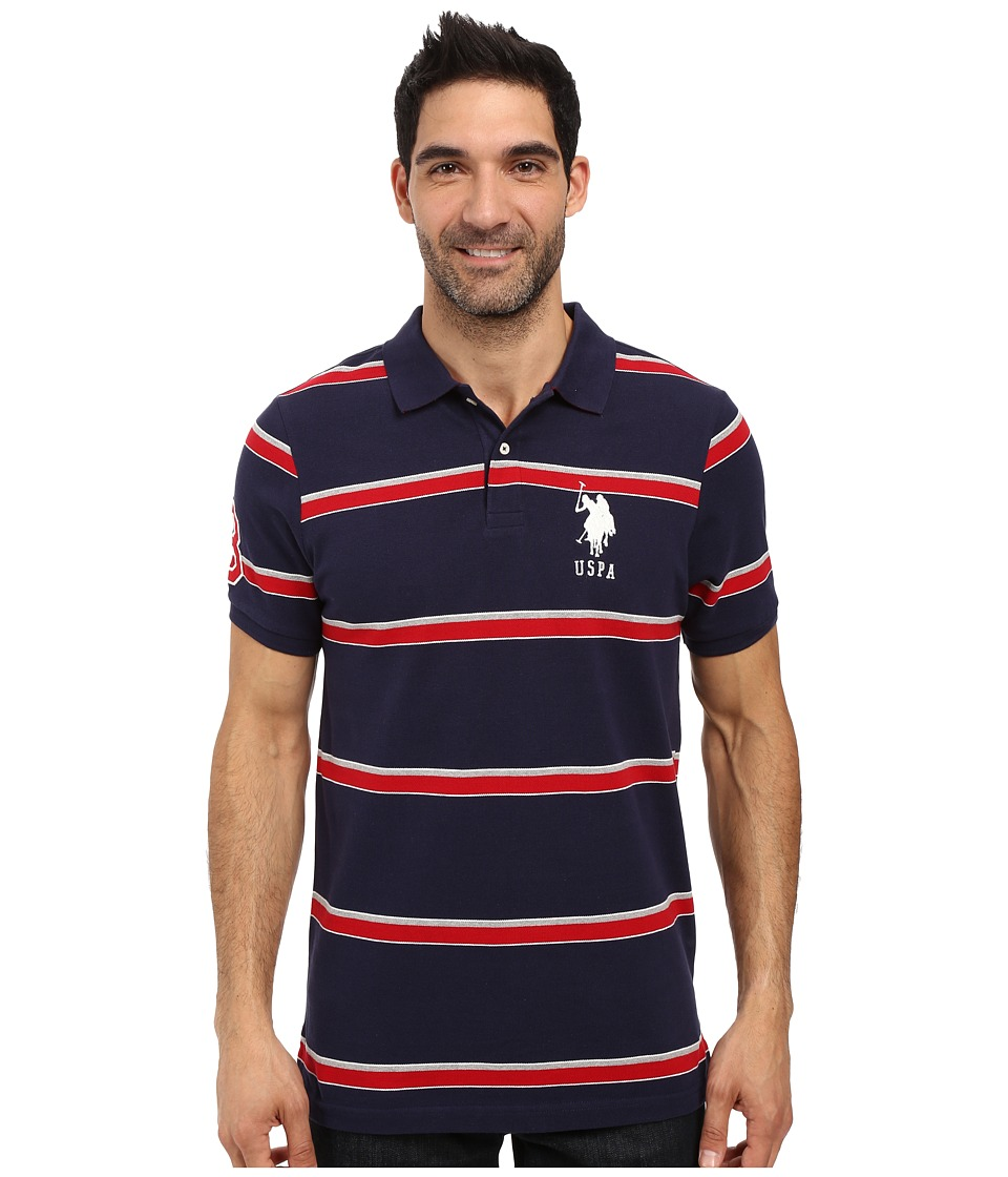 U.S. POLO ASSN. - Shadow Striped Pique Polo Shirt (Classic Navy) Men's Clothing