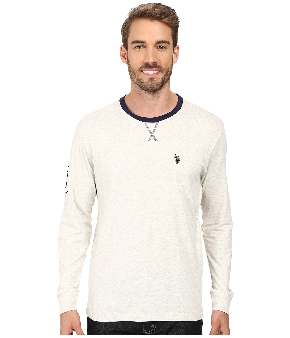 U.S. POLO ASSN. - Long Sleeve V-Inset Crew Neck Knit Shirt (Oatmeal Heather) Men's Clothing