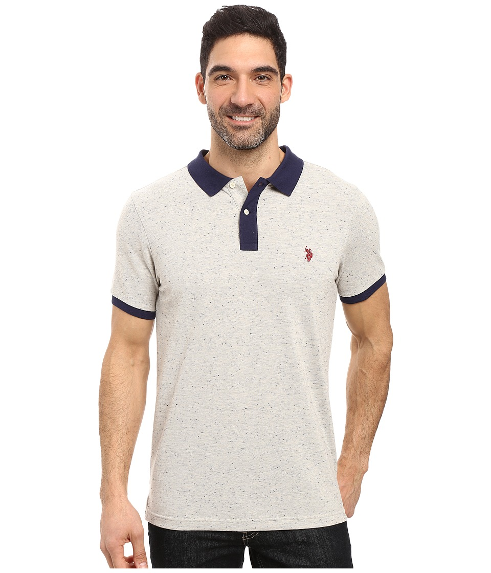 U.S. POLO ASSN. - Short Sleeve Fleck Pique Polo Shirt (Oatmeal Heather/Classic Navy) Men's Short Sleeve Pullover