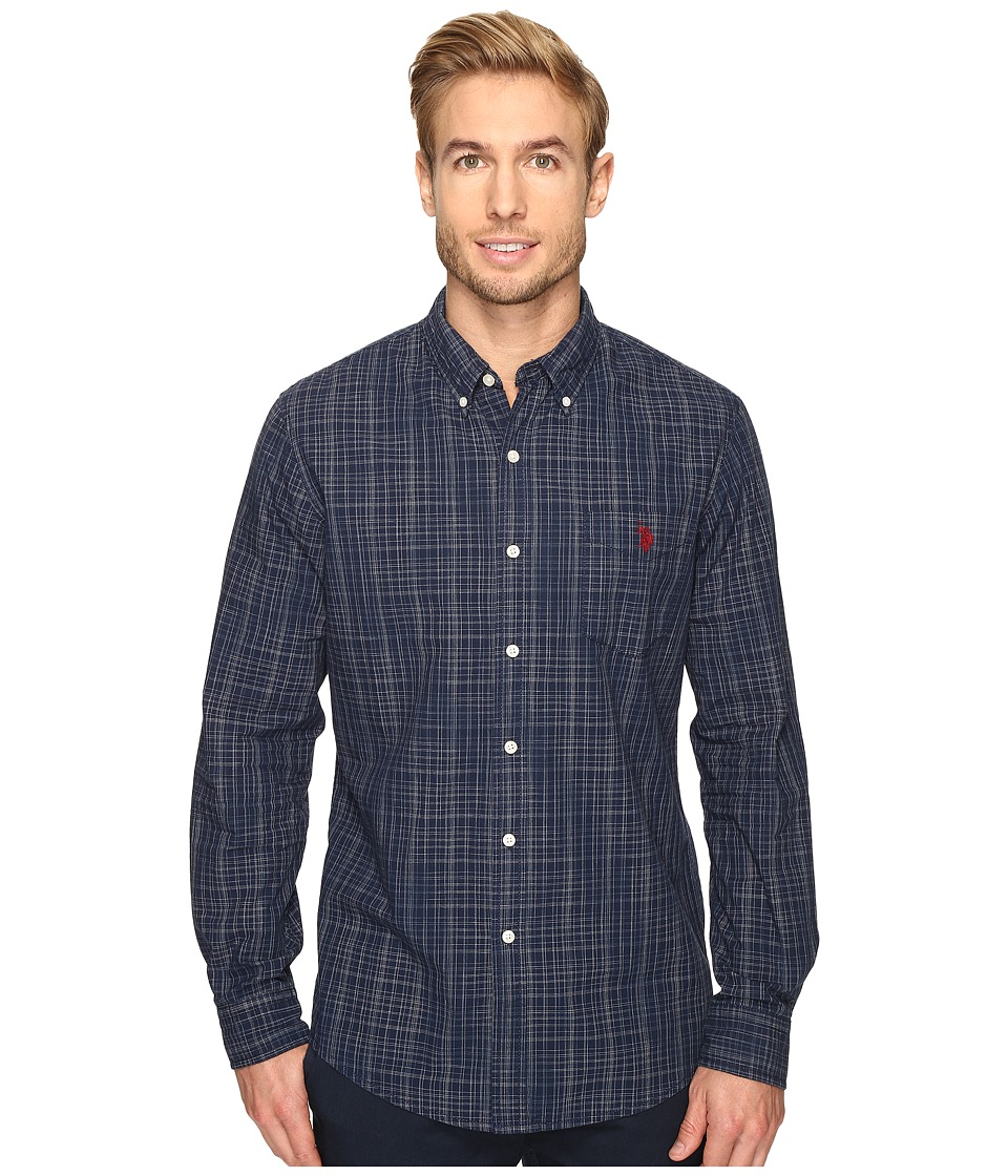 U.S. POLO ASSN. - Long Sleeve Slim Fit Dobby Button Down Sport Shirt (Classic Navy) Men's Clothing