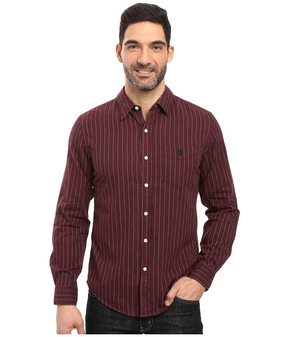 U.S. POLO ASSN. - Long Sleeve Slim Fit Brushed Heather Stripe Twill Straight Point Collar Sport Shirt (Elderidge Heather) Men's Clothing