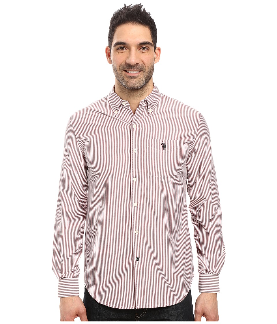 U.S. POLO ASSN. - Long Sleeve Poplin Striped Sport Shirt (Seagrams Burgundy) Men's Clothing