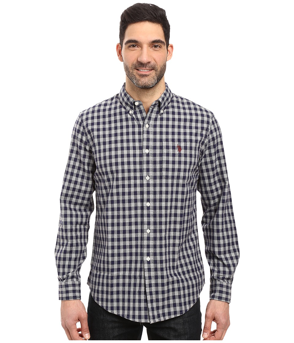 U.S. POLO ASSN. - Long Sleeve Oxford Cloth Button Down Gingham Check Sport Shirt (Classic Navy) Men's Clothing