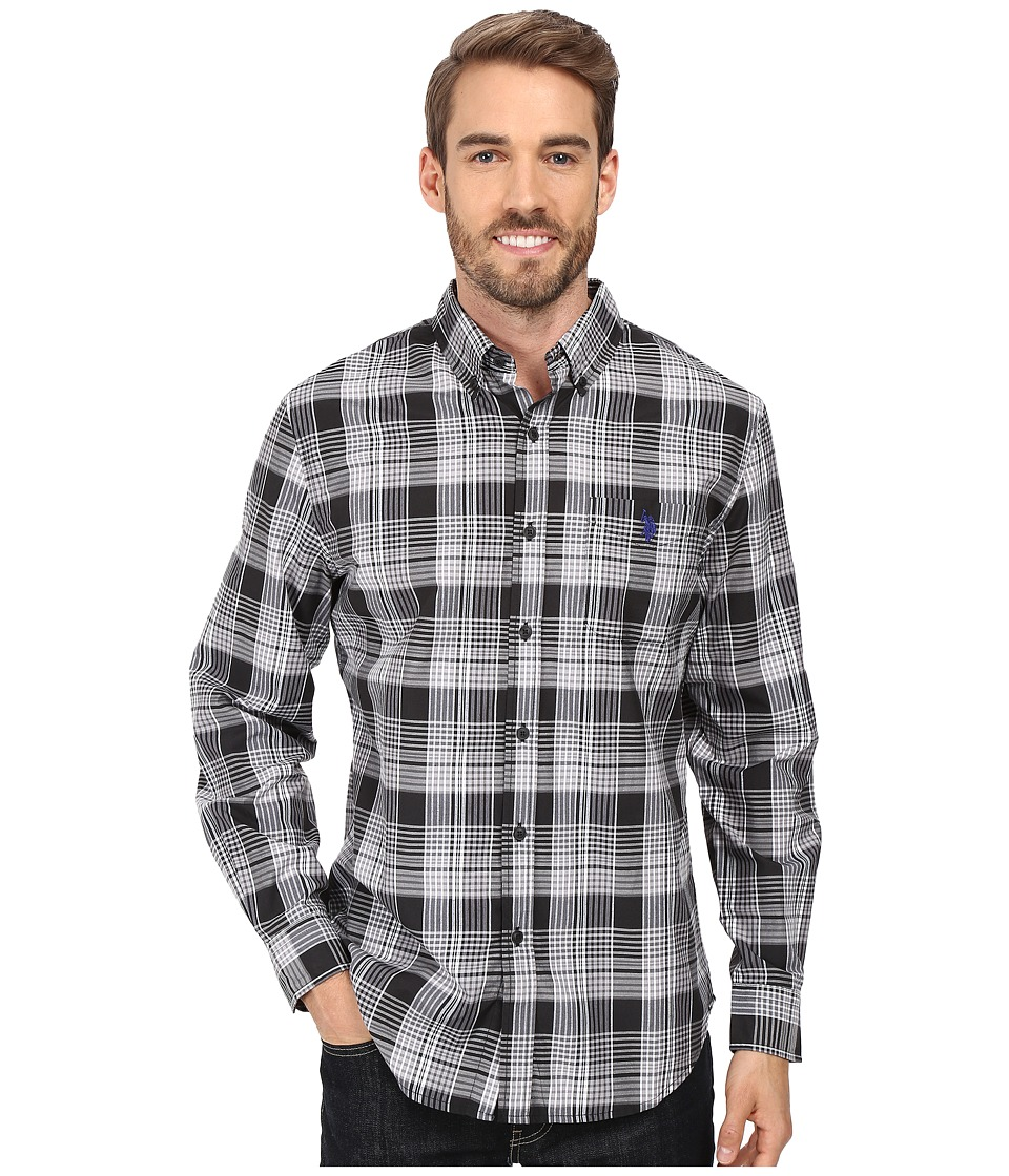 U.S. POLO ASSN. - Long Sleeve Medium Plaid Sport Shirt (Black) Men's Clothing