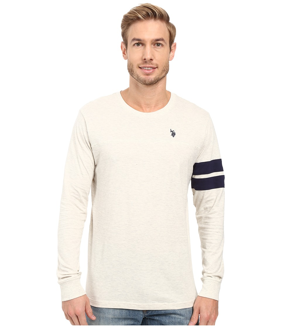 U.S. POLO ASSN. - Long Sleeve Crew Neck Knit Shirt (Oatmeal Heather) Men's Clothing