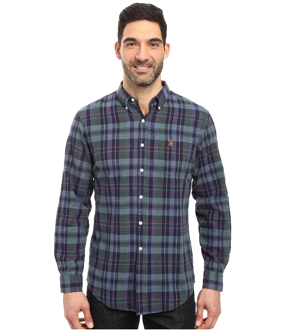 U.S. POLO ASSN. - Long Sleeve Classic Fit Plaid Slub Oxford Cloth Sport Shirt (Classic Navy) Men's Clothing