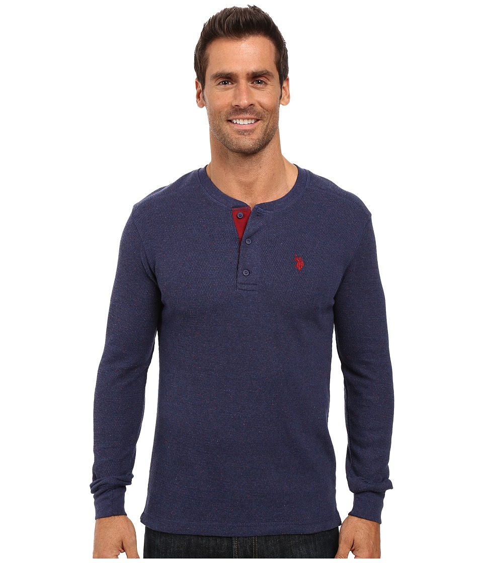 U.S. POLO ASSN. - Long Sleeve Slim Fit Fleck Thermal Henley Pullover (Dodger Blue Heather) Men's Clothing