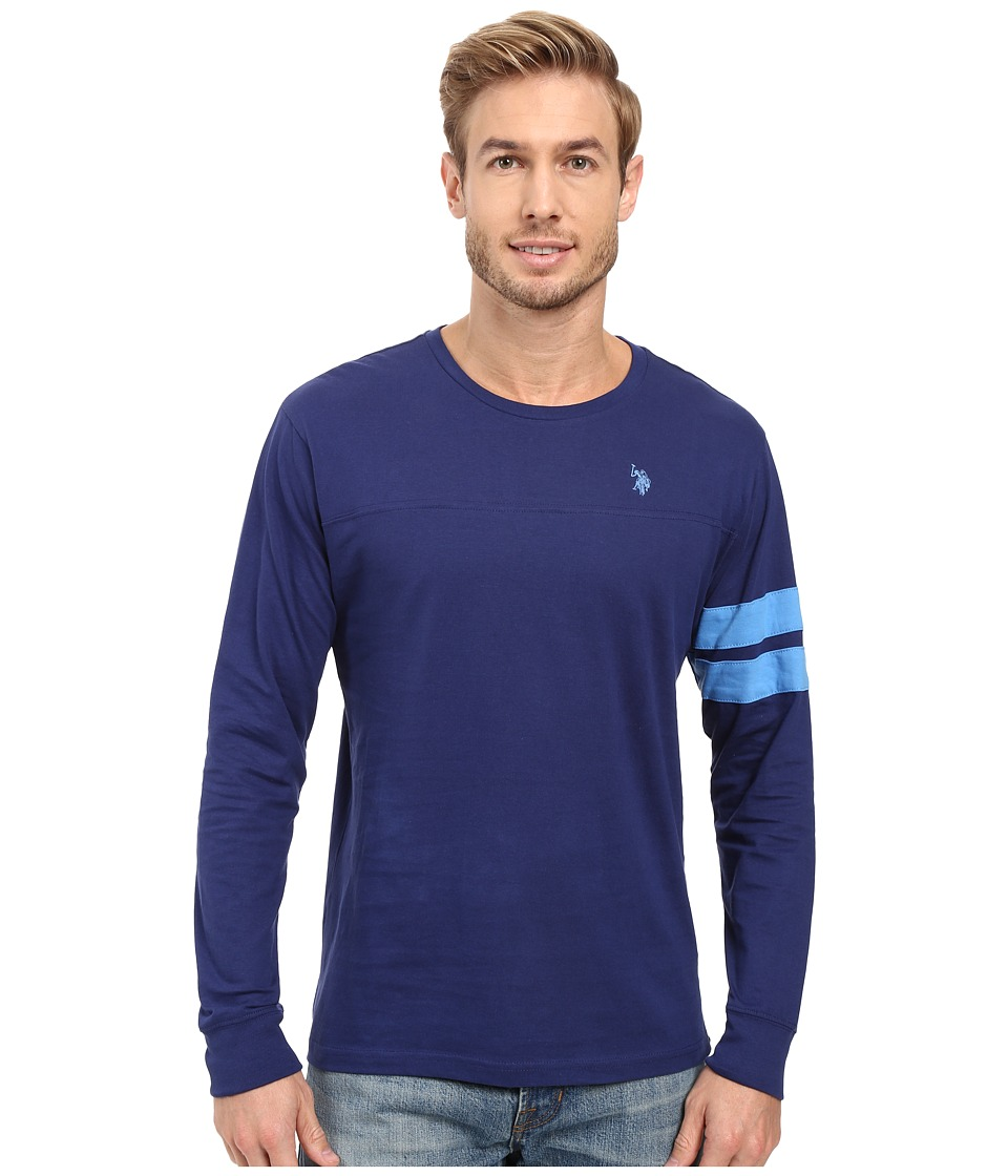 U.S. POLO ASSN. - Long Sleeve Crew Neck Knit Shirt (Marina Blue) Men's Clothing