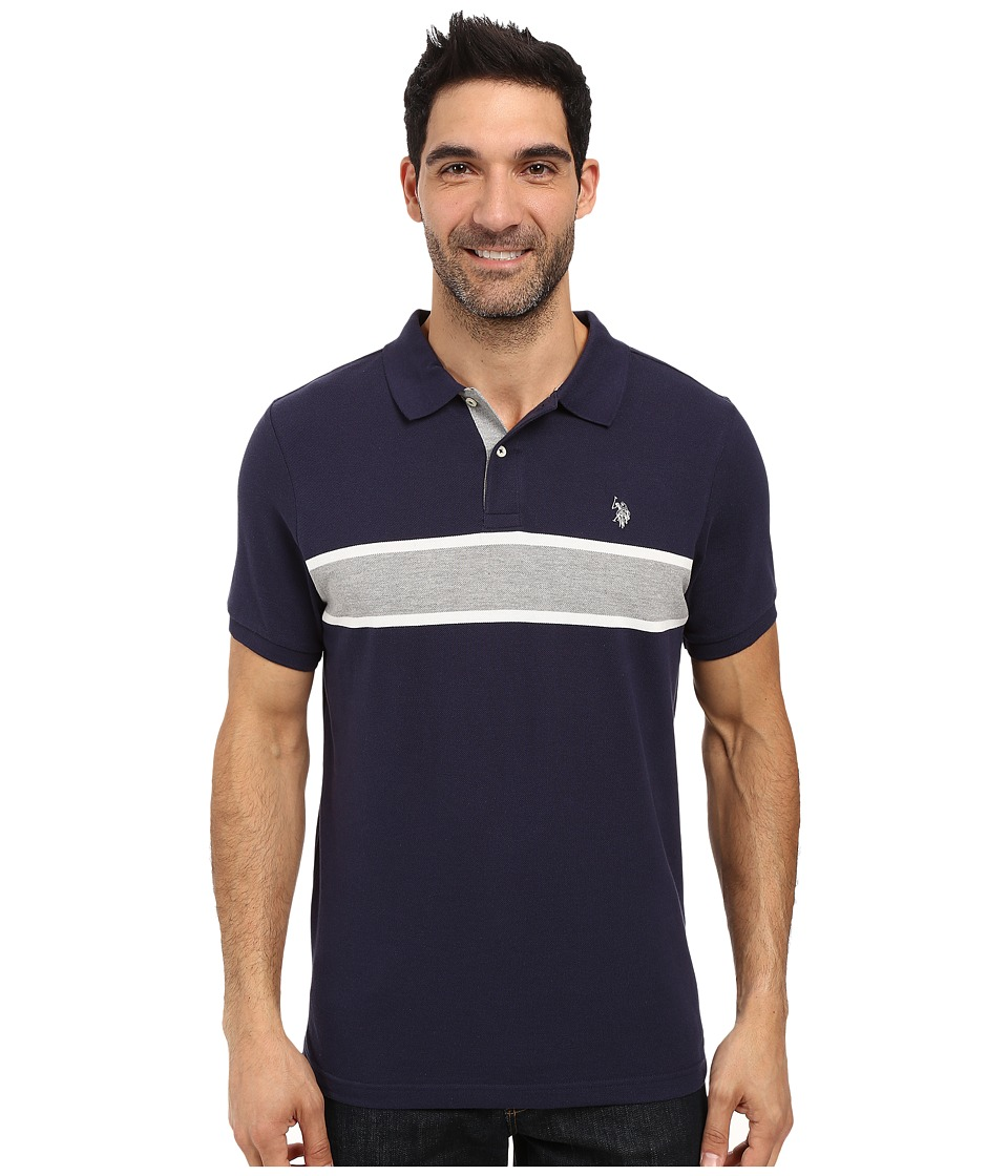 U.S. POLO ASSN. - Engineered Chest Stripe Pique Polo Shirt (Classic Navy) Men's Clothing