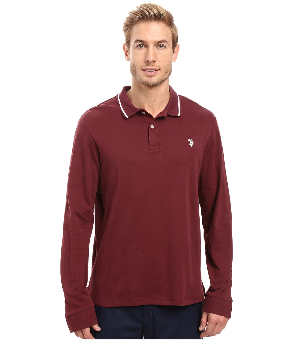 U.S. POLO ASSN. - Long Sleeve Cotton Interlock Polo Shirt (East Burgundy) Men's Long Sleeve Pullover