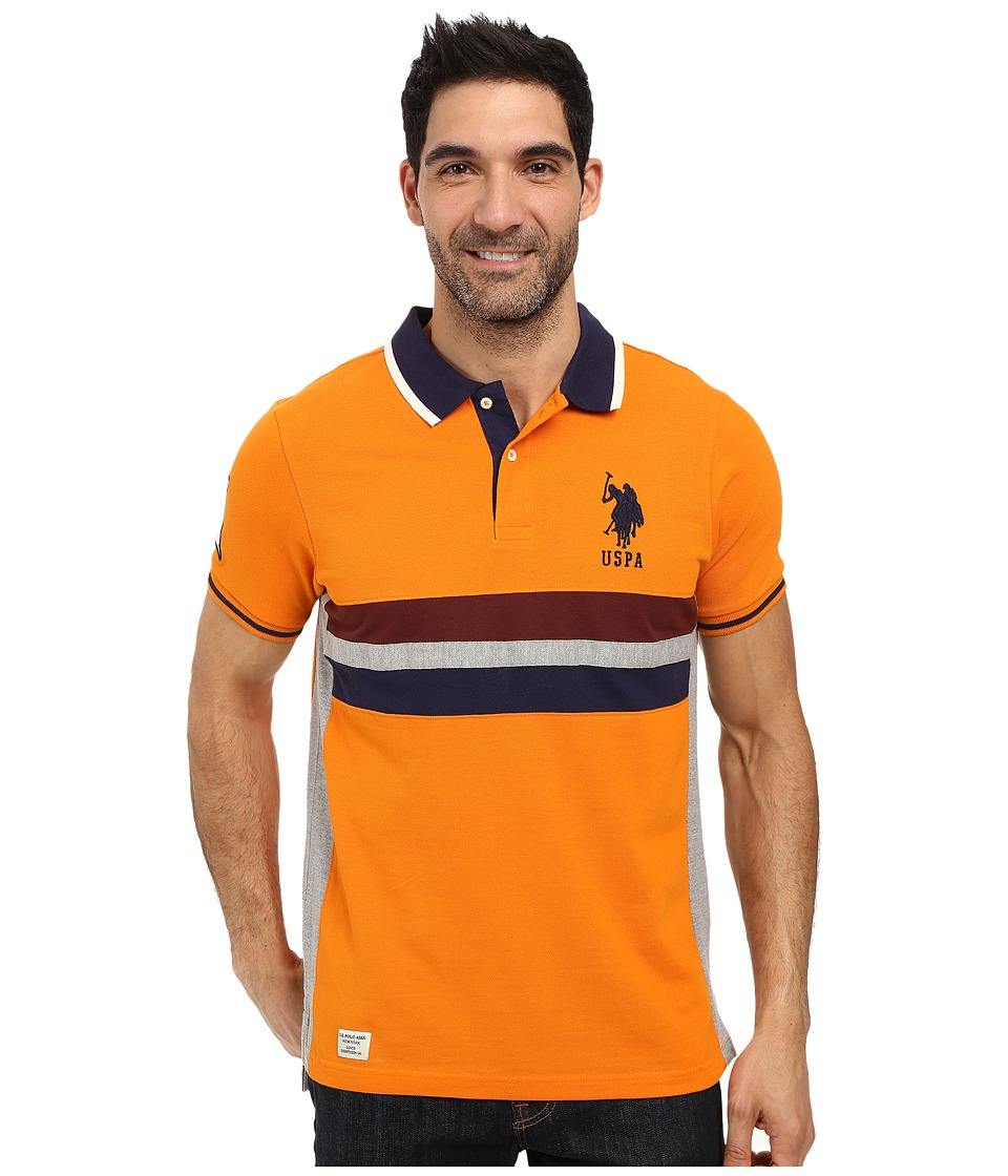 U.S. POLO ASSN. - Short Sleeve Classic Fit Chest Stripe Pique Polo Shirt (Stanton Orange) Men's Short Sleeve Pullover