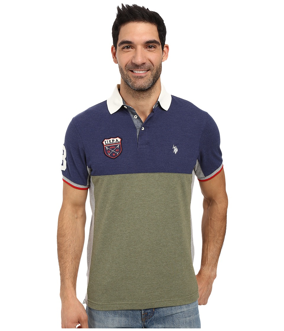 U.S. POLO ASSN. - Sporty Short Sleeve Color Blocked Polo Shirt (Olive Green Heather) Men's Short Sleeve Pullover