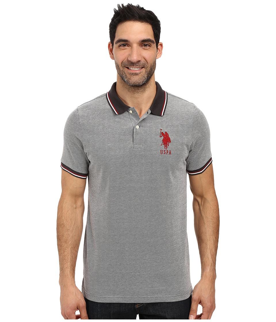 U.S. POLO ASSN. - Color Tipped Collar and Sleeve Cuff Pique Polo Shirt (Campfire Coal) Men's Clothing