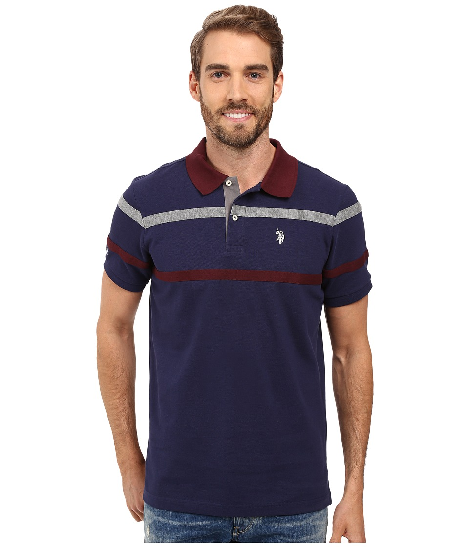U.S. POLO ASSN. - Double Chest Stripe Pique Polo Shirt (Classic Navy) Men's Clothing
