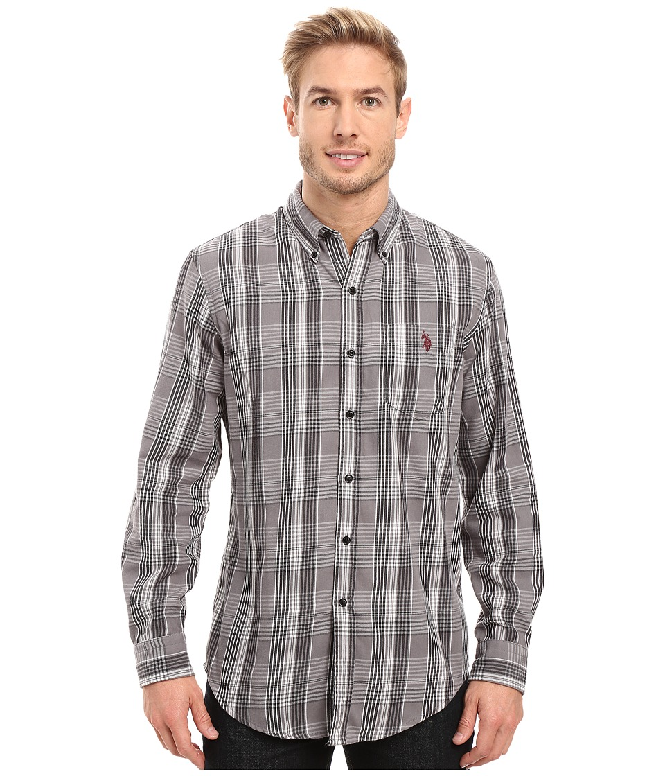 U.S. POLO ASSN. - Long Sleeve Classic Fit Plaid Peached Twill Button Down Sport Shirt (Mid Grey) Men's Clothing