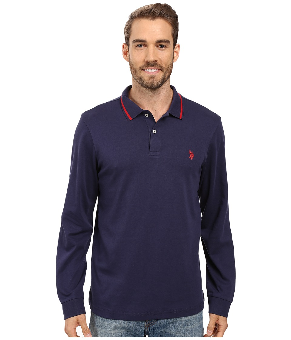 U.S. POLO ASSN. - Long Sleeve Cotton Interlock Polo Shirt (Classic Navy) Men